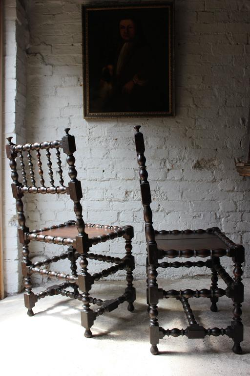 Very Good Pair Of Charles Ii Oak Spindle Back Chairs