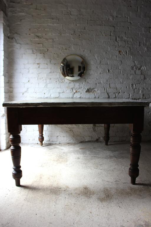 English Fabulous 19th Century Victorian Pine and Zinc Topped Table, Circa 1870-1880 For Sale