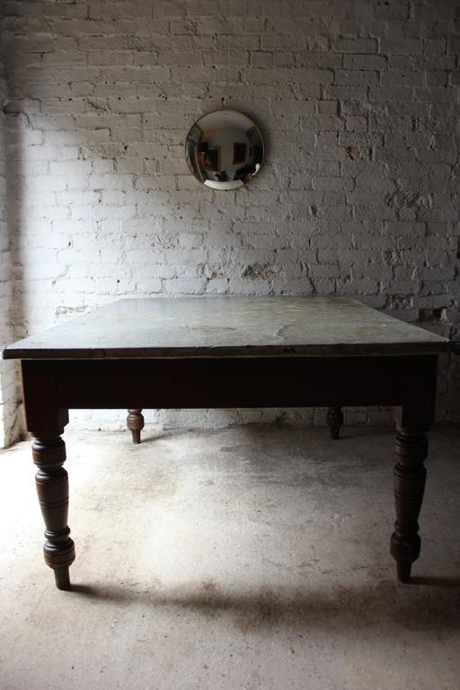 Late 19th Century Fabulous 19th Century Victorian Pine and Zinc Topped Table, Circa 1870-1880 For Sale