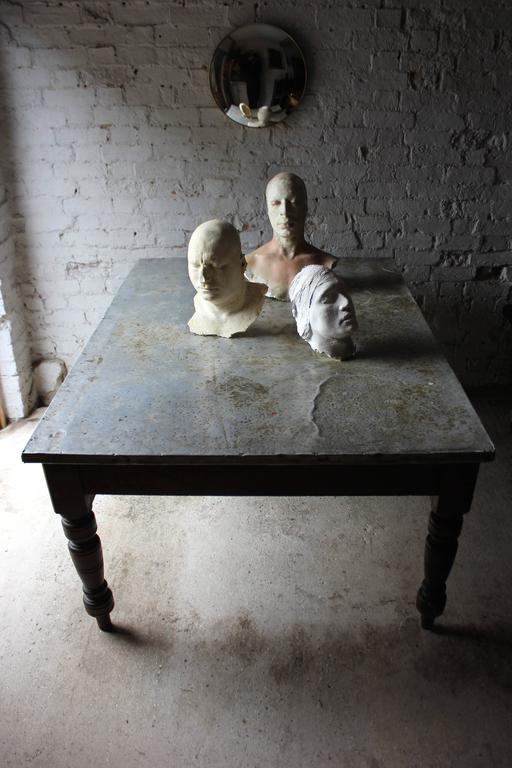 Fabulous 19th Century Victorian Pine and Zinc Topped Table, Circa 1870-1880 For Sale 1