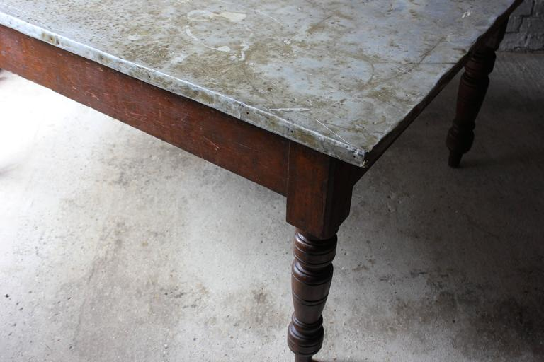 Fabulous 19th Century Victorian Pine and Zinc Topped Table, Circa 1870-1880 For Sale 3