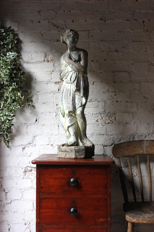 Late 19th century faux lead painted stone statue of the for Painting over lead paint on furniture