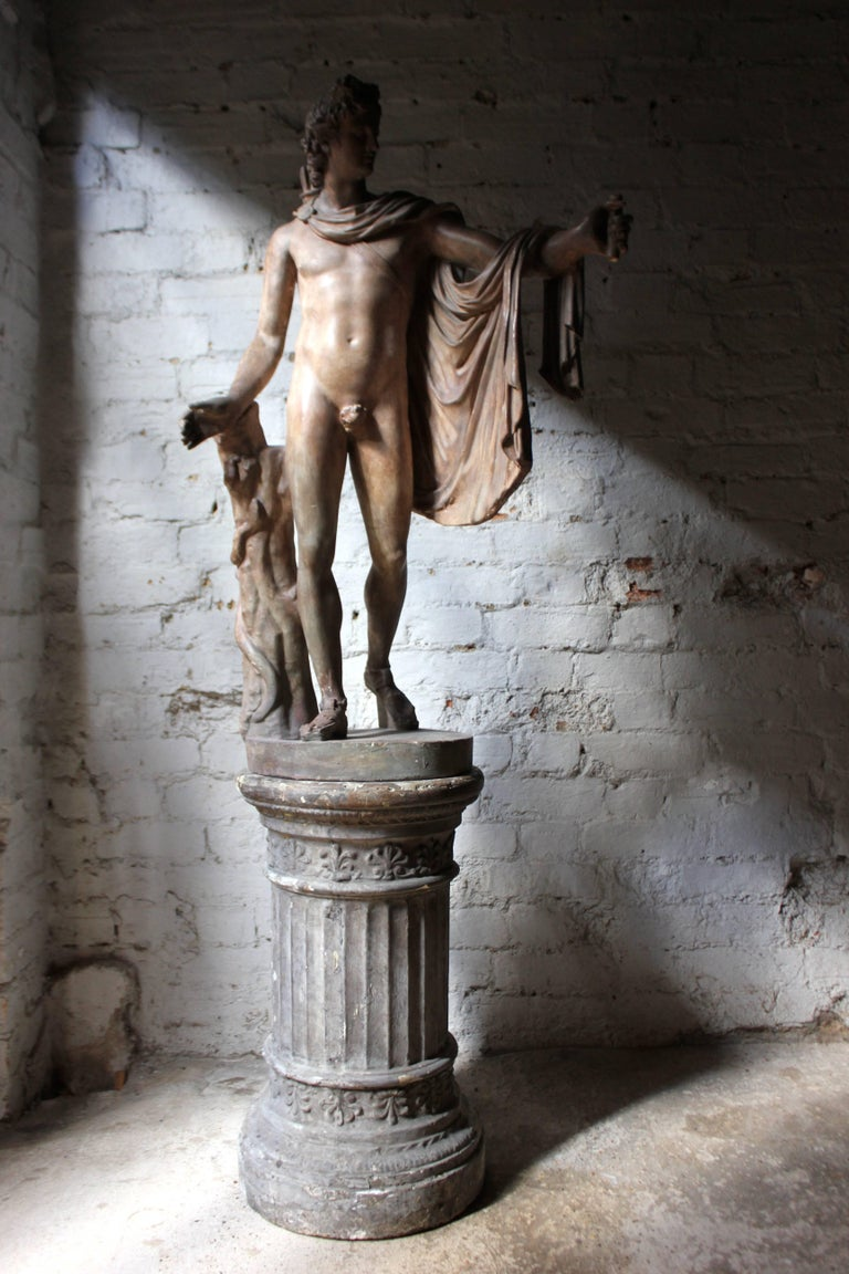 Great Britain (UK) Plaster Figure of the Apollo Belvedere on Plinth Cast by Brucciani under the V&A For Sale