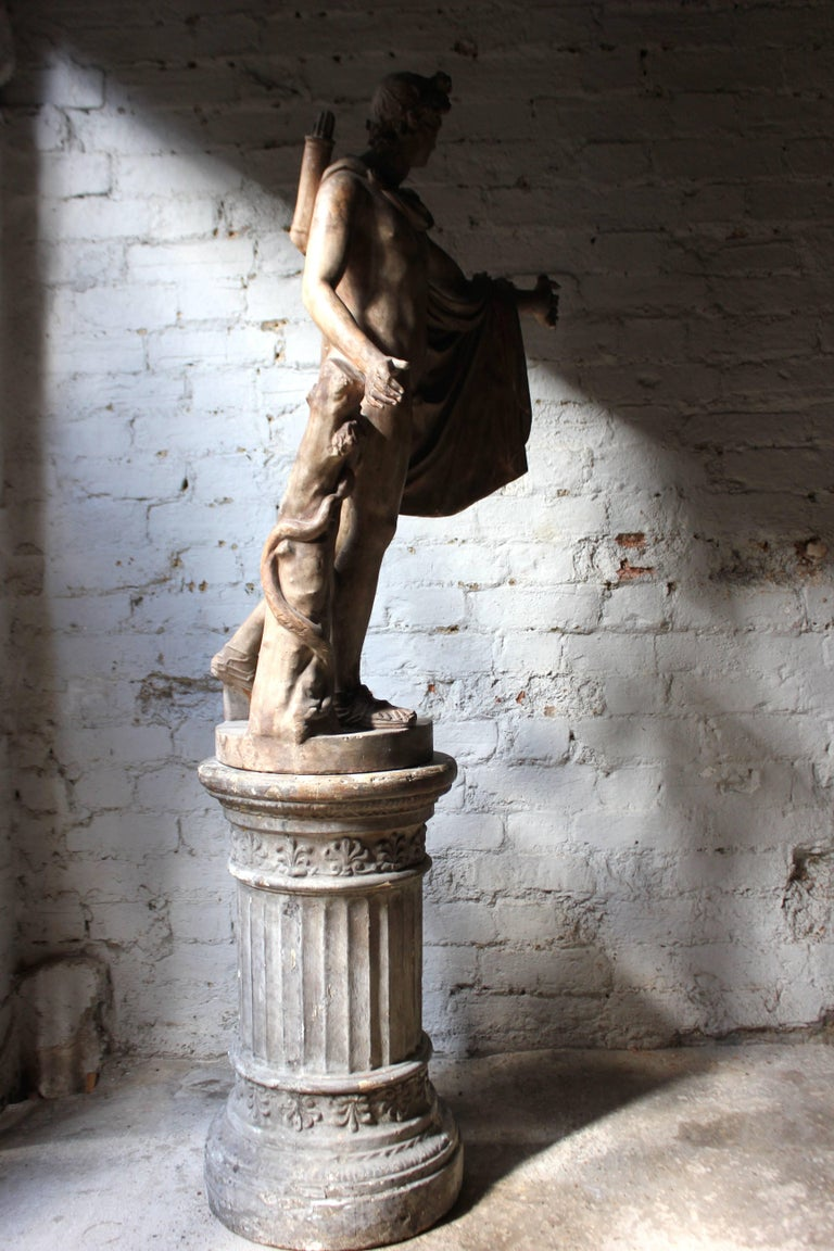Mid-20th Century Plaster Figure of the Apollo Belvedere on Plinth Cast by Brucciani under the V&A For Sale