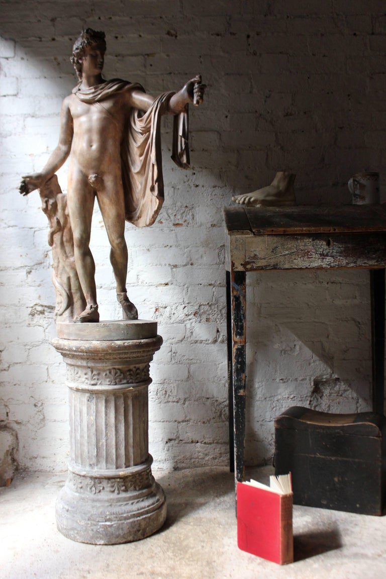 Plaster Figure of the Apollo Belvedere on Plinth Cast by Brucciani under the V&A For Sale 3