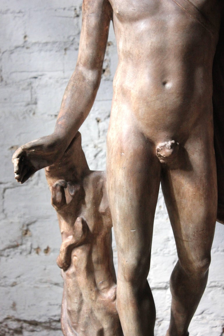Plaster Figure of the Apollo Belvedere on Plinth Cast by Brucciani under the V&A For Sale 4