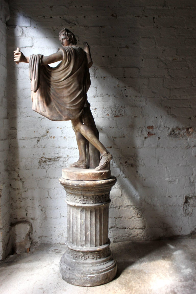 Plaster Figure of the Apollo Belvedere on Plinth Cast by Brucciani under the V&A For Sale 1