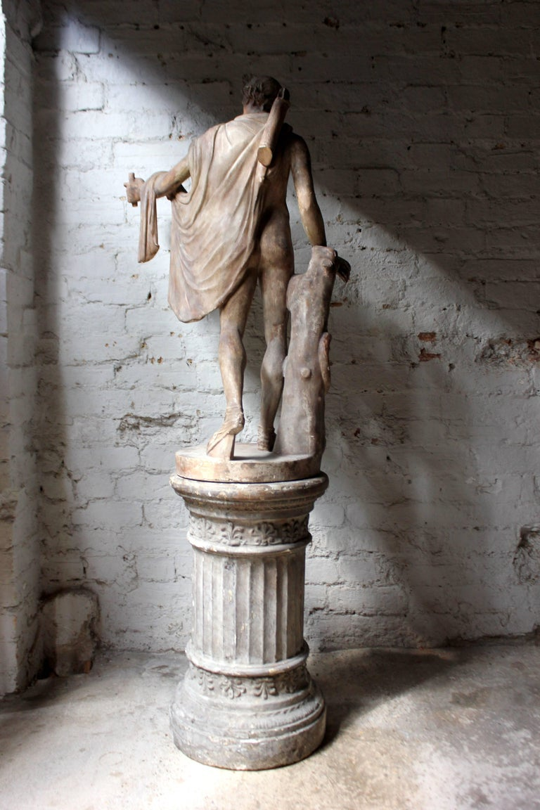 Plaster Figure of the Apollo Belvedere on Plinth Cast by Brucciani under the V&A For Sale 2