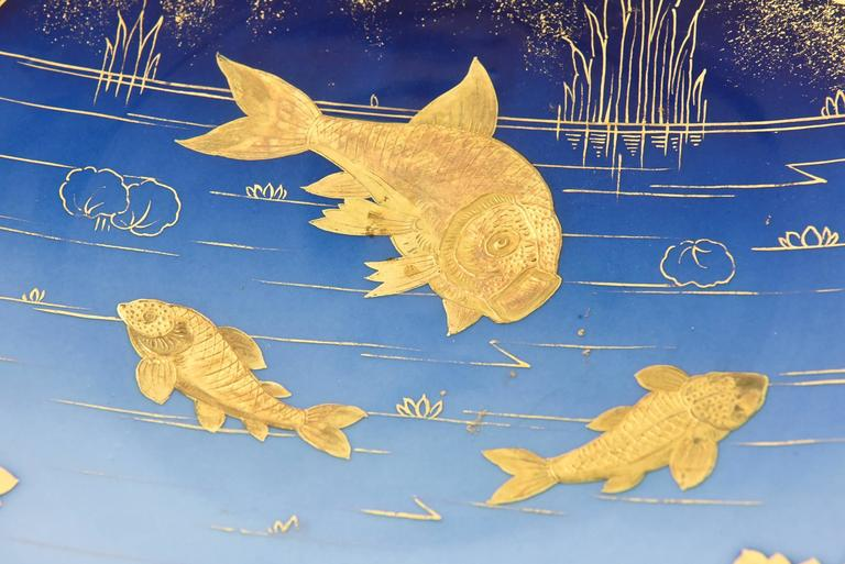 European Pair of 19th Century Porcelain Gold and Blue Fish Plates By Pirkenhammer For Sale
