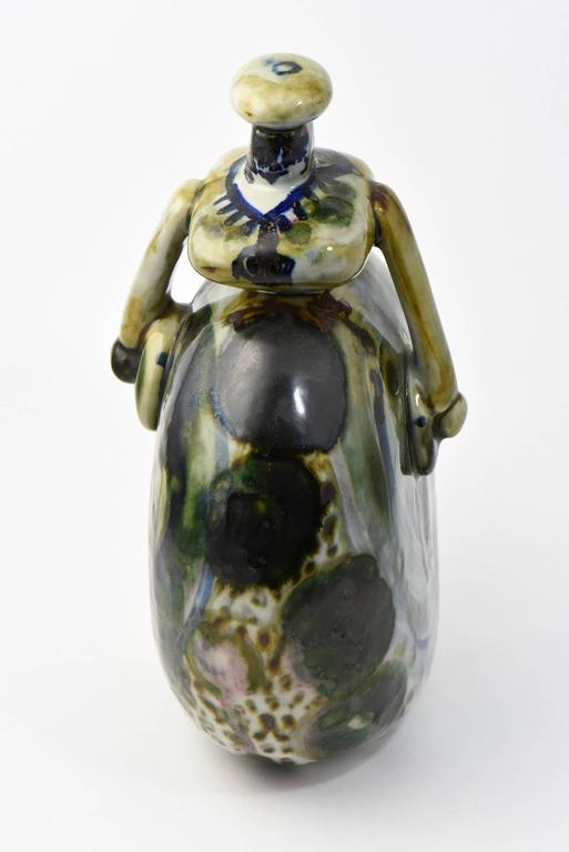 Unknown Folk Art Signed Ceramic Woman Figurine For Sale