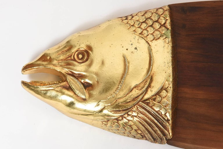 Mid 20th Century Teak Fish Platter With Gold Tone Fish