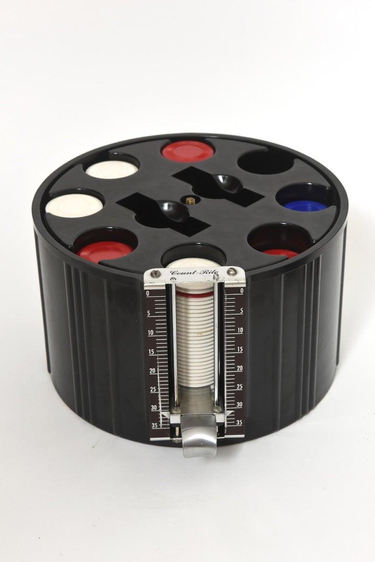 American Art Deco Black Bakelite Poker Chip Holder Caddy For Sale