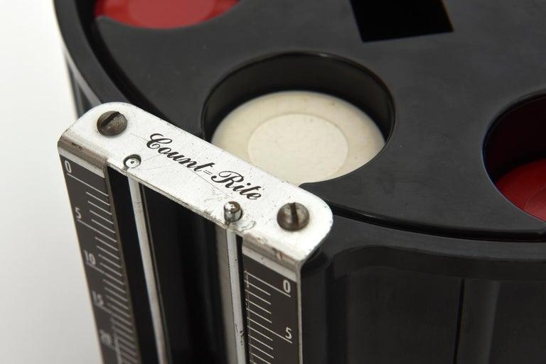 Mid-20th Century Art Deco Black Bakelite Poker Chip Holder Caddy For Sale