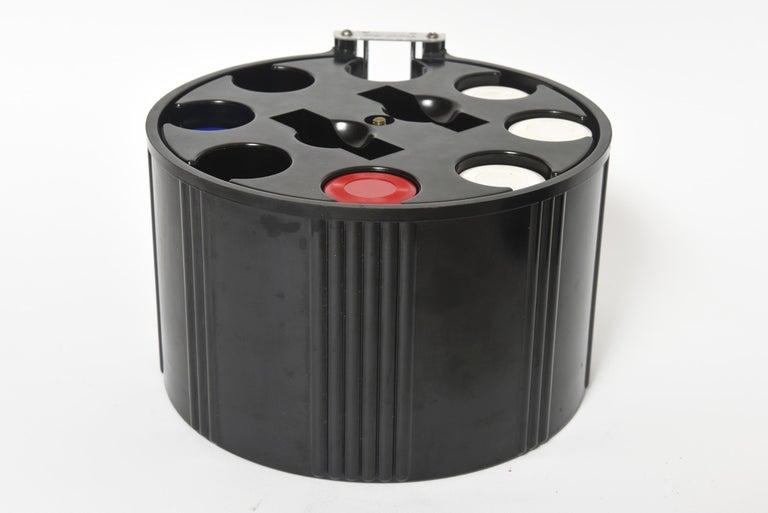 Art Deco Black Bakelite Poker Chip Holder Caddy For Sale 1