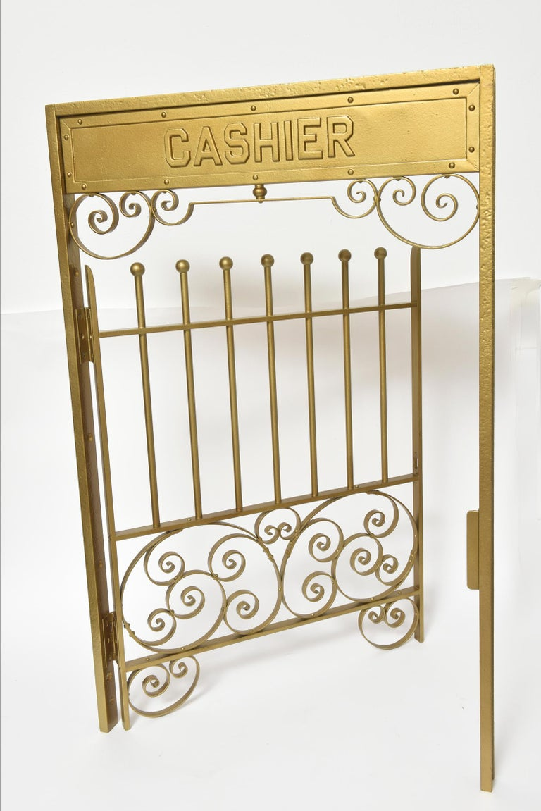 19th Century Antique Brass Finish on Iron Cashier Bank Teller or Post Office Cage Window For Sale