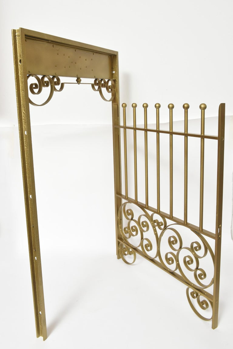 Antique Brass Finish on Iron Cashier Bank Teller or Post Office Cage Window For Sale 1