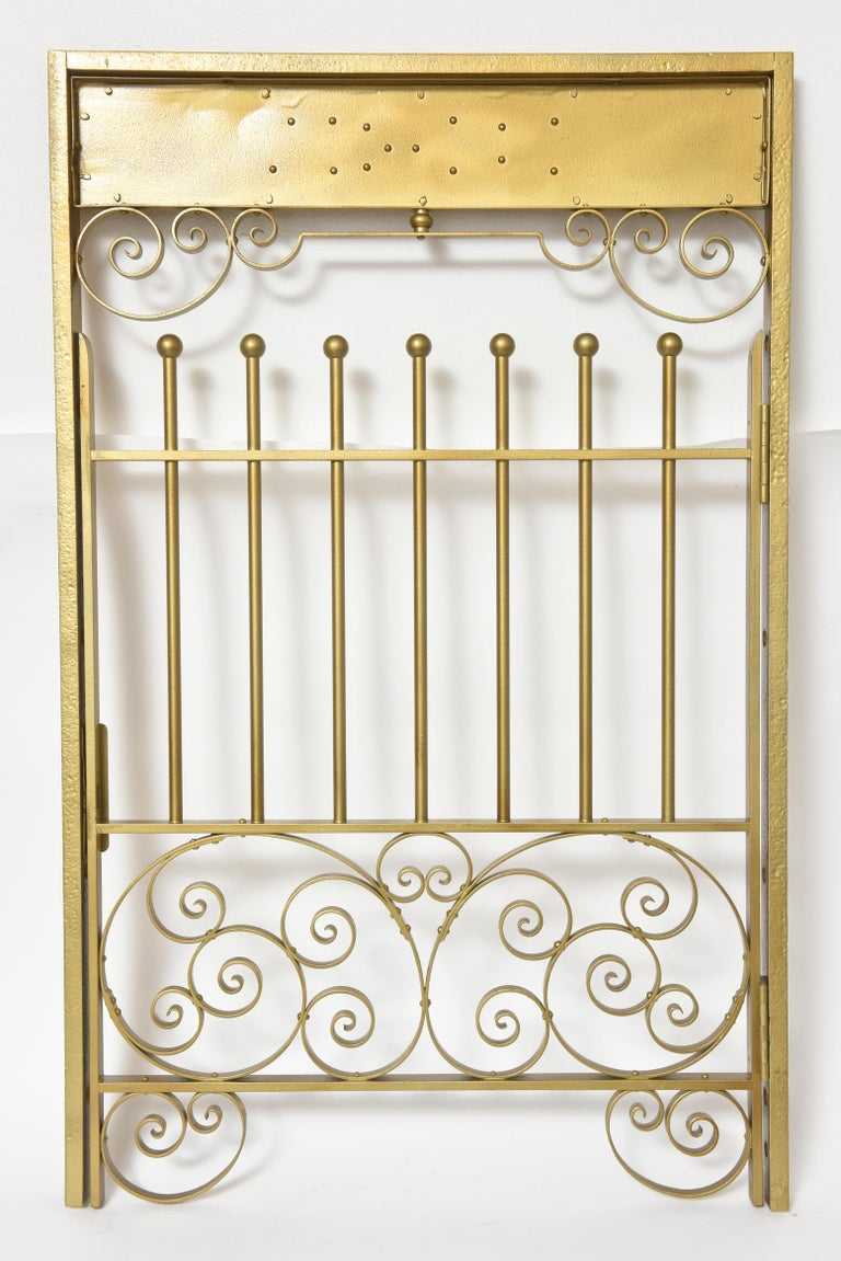 Antique Brass Finish on Iron Cashier Bank Teller or Post Office Cage Window For Sale 3