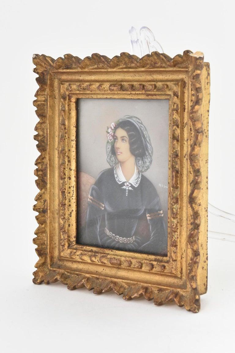 Distinguished lady with ringlets (Lola Montez) - square portrait miniature, circa 1900-1920
