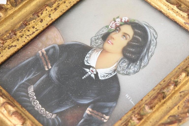 Glass Antique Hand Painted Miniature Portrait of Lola Montez, Lady with Ringlets For Sale