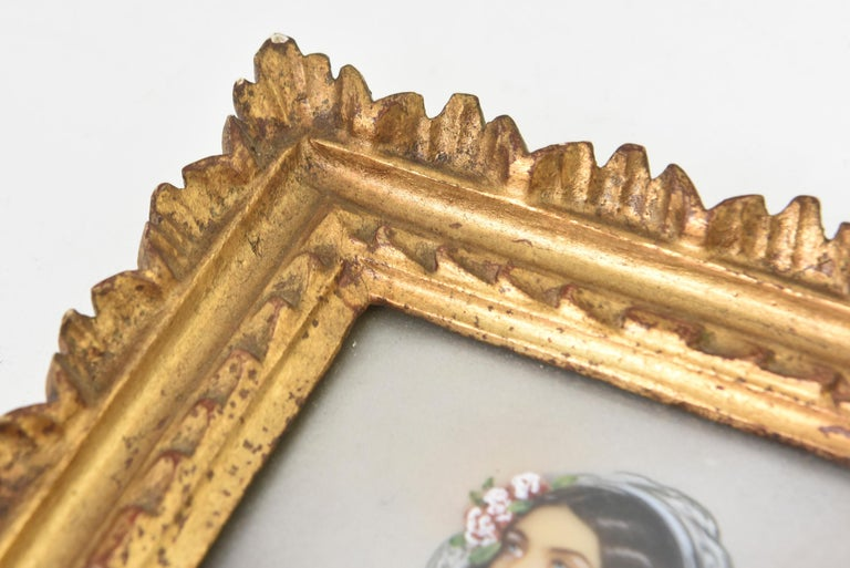 Antique Hand Painted Miniature Portrait of Lola Montez, Lady with Ringlets For Sale 1