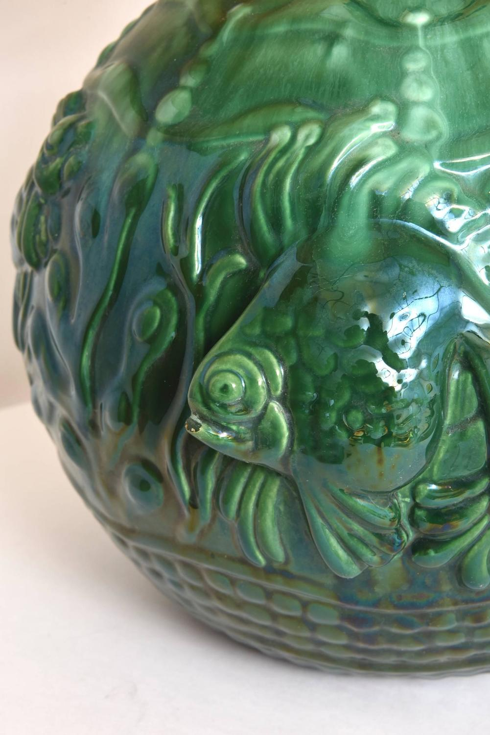 French Art Deco Green Ceramic Fish Lamp For Sale At 1stdibs