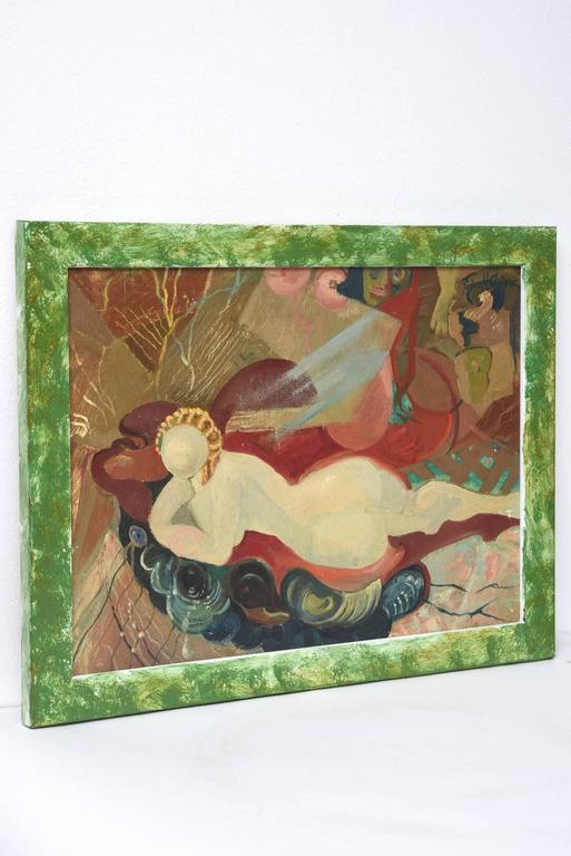 Beautiful late Art Deco oil on canvas painting by Felice H. Caplane of a nude woman lounging on a chaise which appears to be floating in a stormy sky.