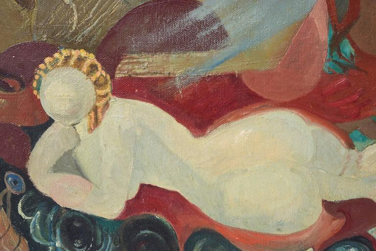 Art Deco Mid-20th Century Female Nude Oil Painting by Felice H. Caplane, American