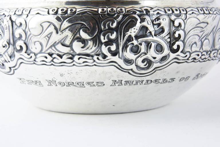 Arts and Crafts Ornate Nordic Arts & Crafts Bowl by Oslo Silversmith Thune For Sale