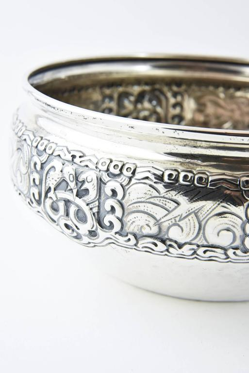 Norwegian Ornate Nordic Arts & Crafts Bowl by Oslo Silversmith Thune For Sale