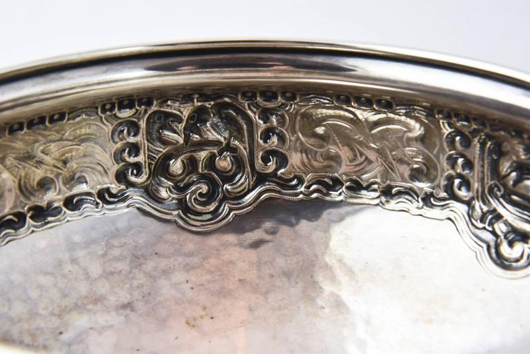 Hand-Crafted Ornate Nordic Arts & Crafts Bowl by Oslo Silversmith Thune For Sale