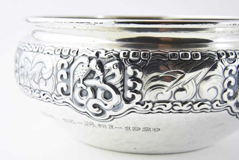 Ornate Nordic Arts & Crafts Bowl by Oslo Silversmith Thune In Good Condition For Sale In Miami Beach, FL