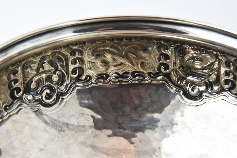 Ornate Nordic Arts & Crafts Bowl by Oslo Silversmith Thune For Sale 1