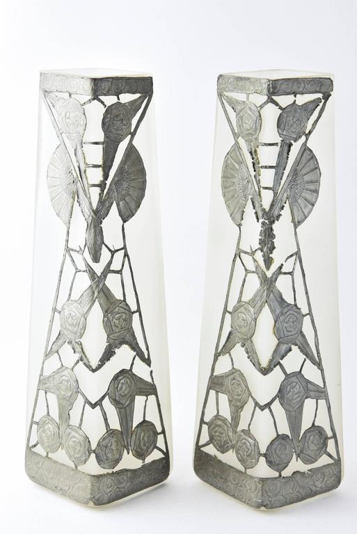 20th Century French Art Nouveau Clock and Vase Set by R. Ragu For Sale