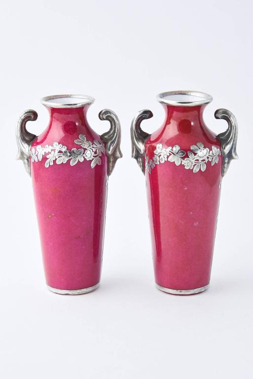 Pair of Pink Miniature Antique Portrait Vases with Silver Overlay Decoration In Good Condition For Sale In Miami Beach, FL