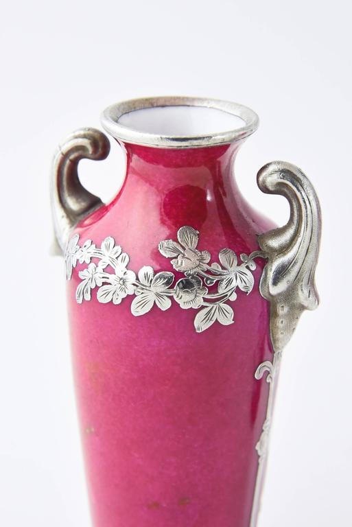 Sterling Silver Pair of Pink Miniature Antique Portrait Vases with Silver Overlay Decoration For Sale