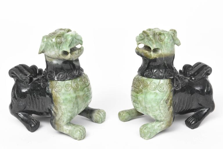 Mid-20th Century Pair of Chinese Carved Green Hardstone Foo Dogs / Lions In Good Condition For Sale In Miami Beach, FL