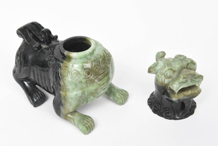 Mid-20th Century Pair of Chinese Carved Green Hardstone Foo Dogs / Lions For Sale 1