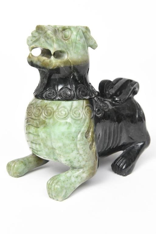 Mid-20th Century Pair of Chinese Carved Green Hardstone Foo Dogs / Lions For Sale 3
