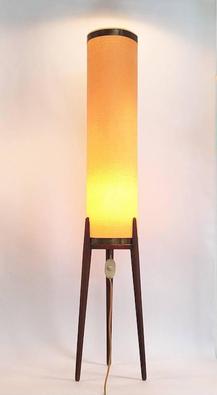 Mid-Century Modern Amazing Danish Mid-Century Teak Tripod Floor Lamp with Original Celluloid Shade For Sale