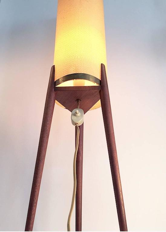 Amazing Danish Mid-Century Teak Tripod Floor Lamp with Original Celluloid Shade In Excellent Condition For Sale In Haderslev, DK