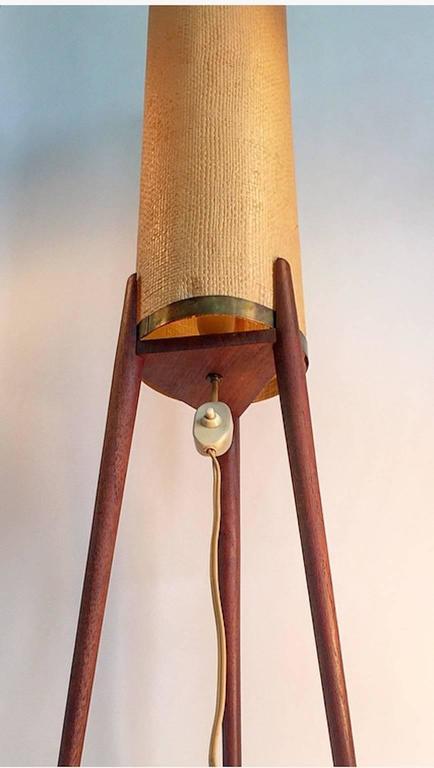 Brass Amazing Danish Mid-Century Teak Tripod Floor Lamp with Original Celluloid Shade For Sale