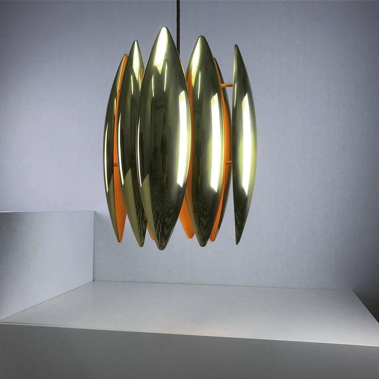 1969 Brass Ceiling Pendant Kastor by Jo Hammerborg In Excellent Condition For Sale In Haderslev, DK