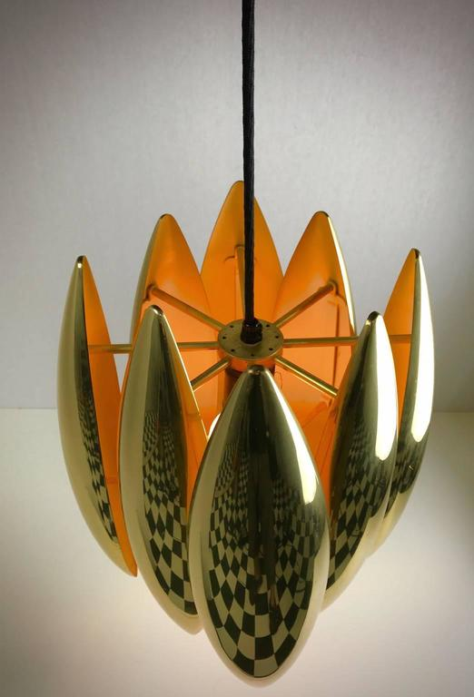 Danish 1969 Brass Ceiling Pendant Kastor by Jo Hammerborg For Sale
