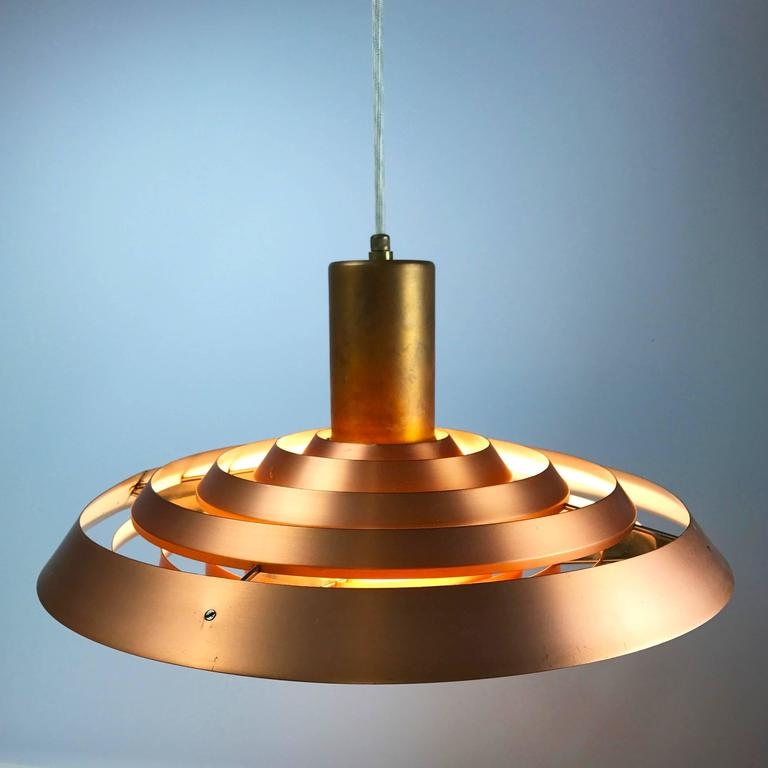 Poul Henningsen Copper Plate Pendant by Louis Poulsen In Excellent Condition For Sale In Haderslev, DK