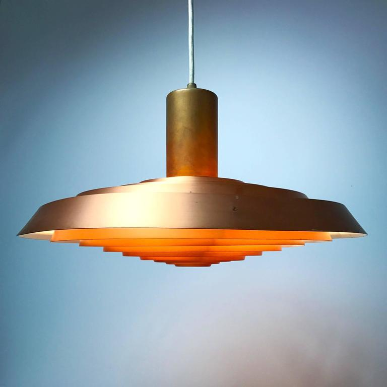 Mid-20th Century Poul Henningsen Copper Plate Pendant by Louis Poulsen For Sale