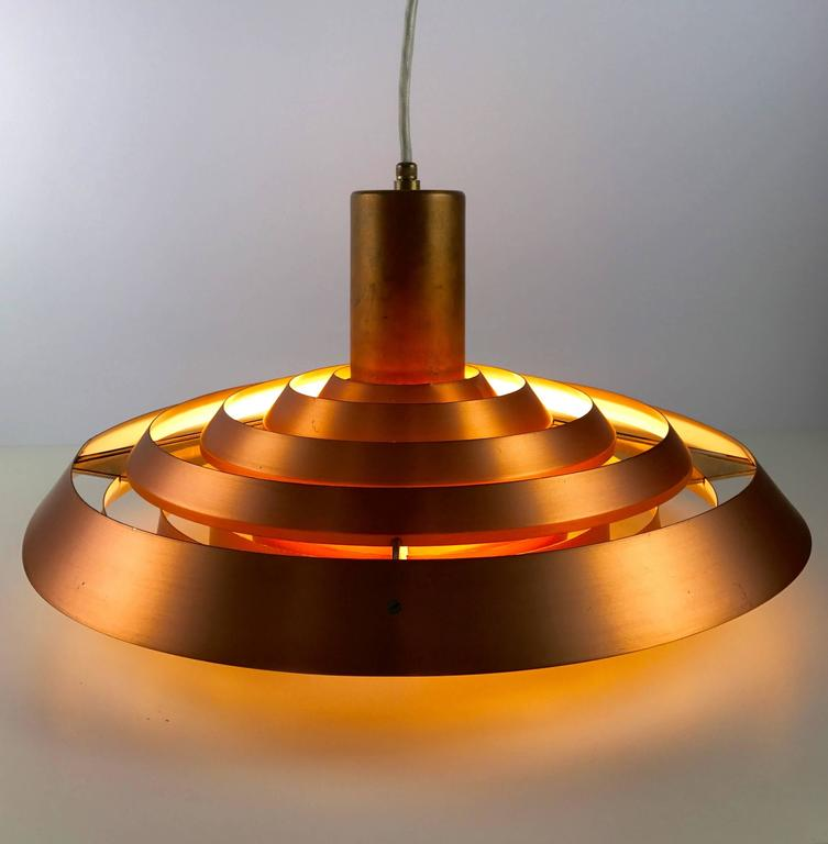 Scandinavian Modern Poul Henningsen Copper Plate Pendant by Louis Poulsen For Sale