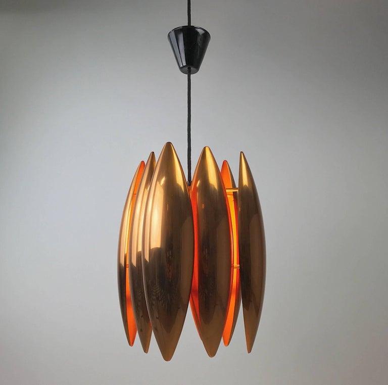Mid-Century Modern Copper Ceiling Pendant by Jo Hammerborg for Fog Morup, Denmark For Sale