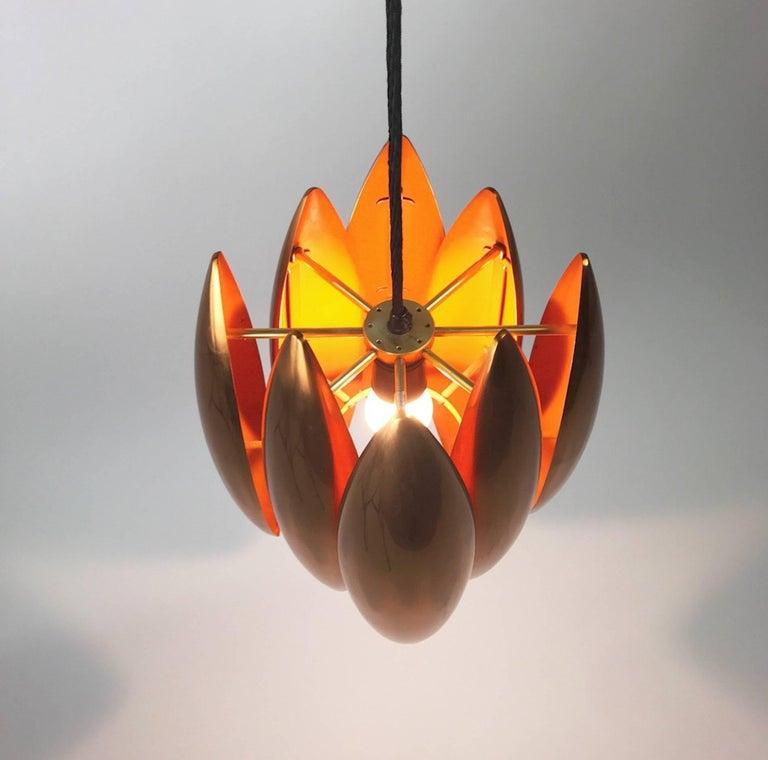 Brass Copper Ceiling Pendant by Jo Hammerborg for Fog Morup, Denmark For Sale