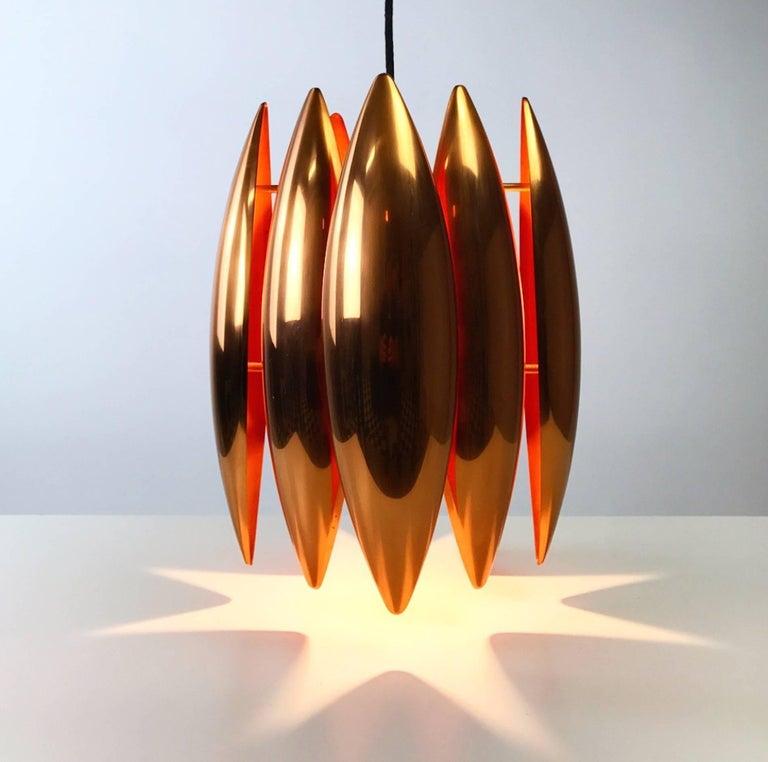 Copper Ceiling Pendant by Jo Hammerborg for Fog Morup, Denmark For Sale 2