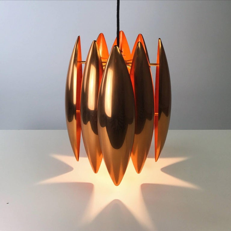 Mid-20th Century Copper Ceiling Pendant by Jo Hammerborg for Fog Morup, Denmark For Sale